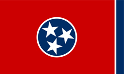 The state flag of Tennessee.